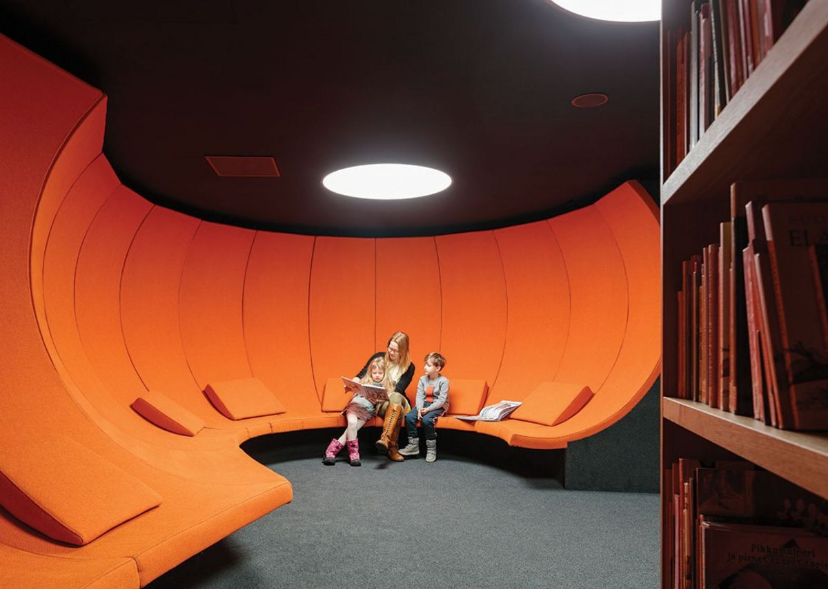 Children's storytelling spaces are hidden behind a secret door in the bookshelf.