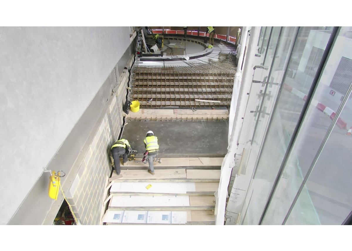 The inverted amphitheatre staircase at Cannon Green under construction.