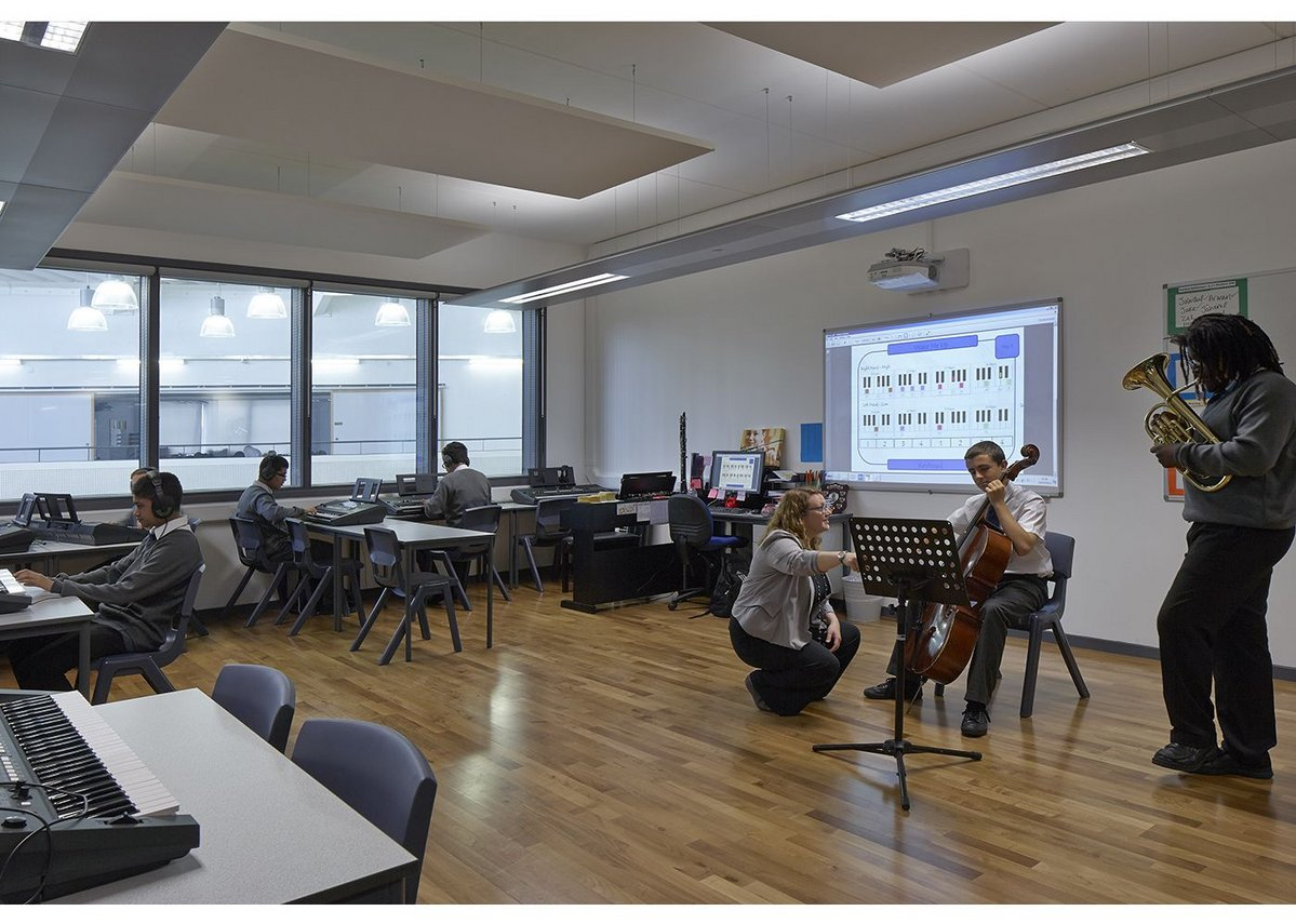 A music room at Bow School with Siniat sound insulation