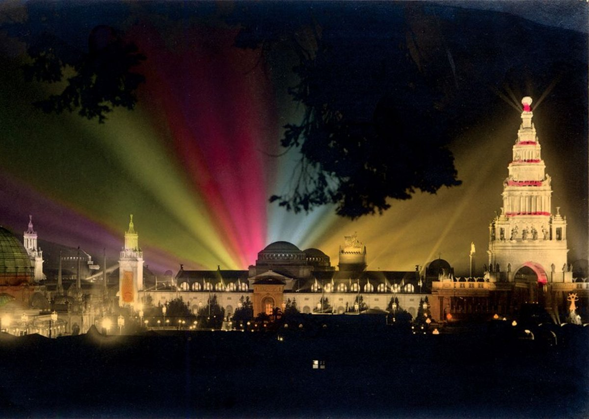 Panama-Pacific International Exposition 1915. Real photo, hand-tinted.