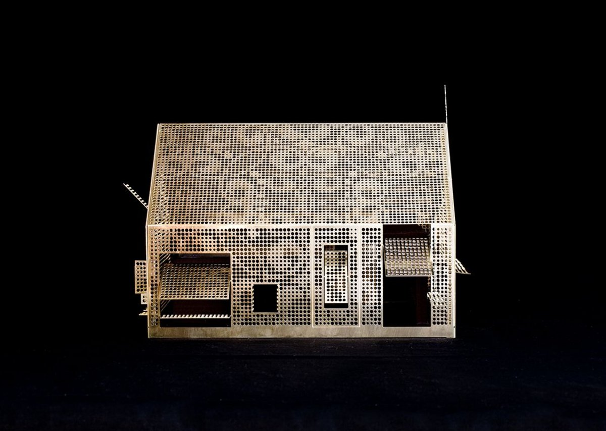 Studio Weave's perforated brass model of Weston Super Mare tourist information centre