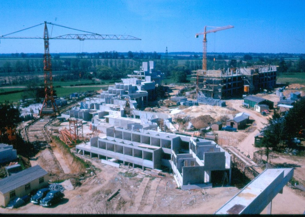 University of East Anglia ziggurats under construction.