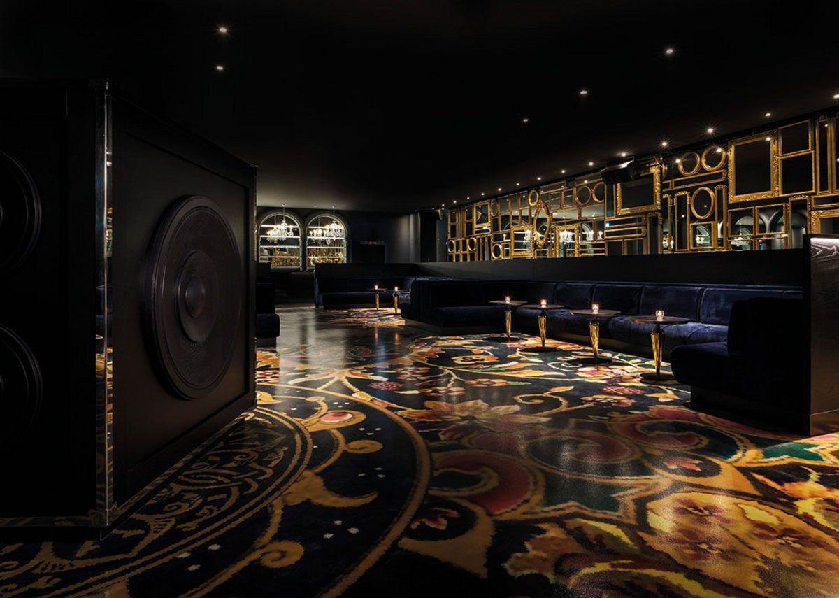 The 'carpet' of the nightclub area is in fact a highly robust, hard surfaced dancefloor.
