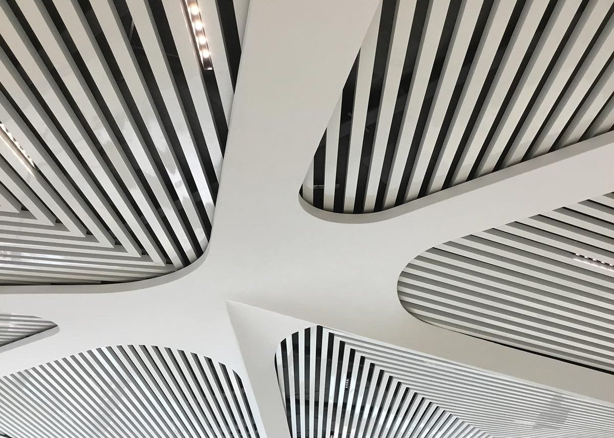 The architects' work focused on a search for organic forms, including an innovative acoustic ceiling.