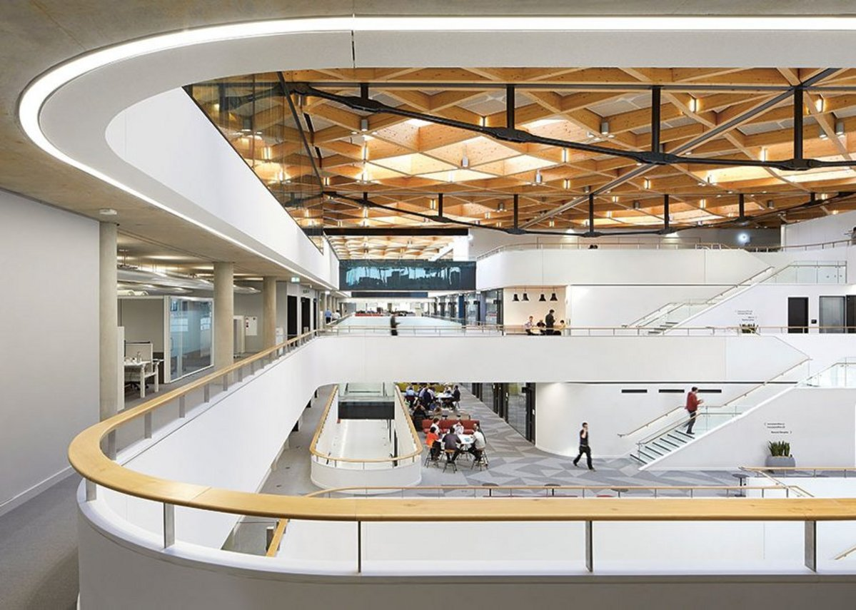 More than a touch of va-va-voom in the sweeping lines of the central 'collaboration hub'.