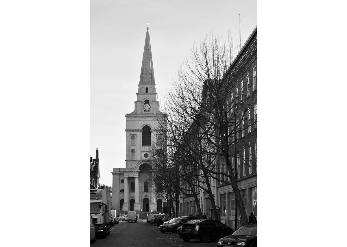 Christ Church, Spitalfieds, at the end of Brushfield Street.