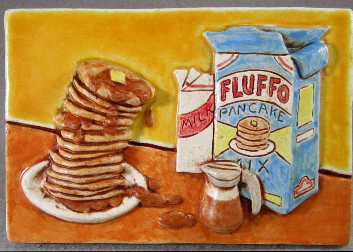 'Fluffo pancakes' ceramic tile by artist. Greg Hicho.
