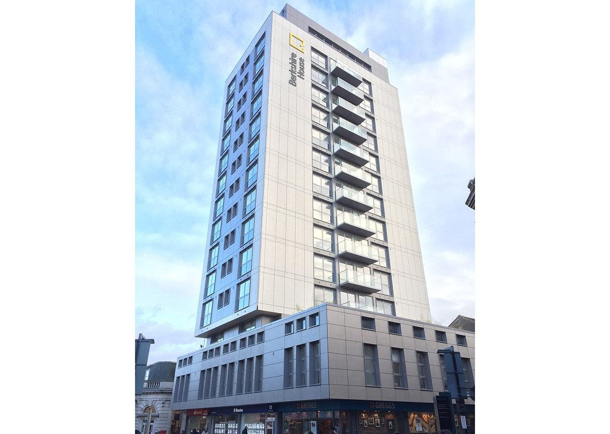 Lightweight ventilated facade at Berkshire House apartment block, Maidenhead: Offering a 20 to 30 per cent saving on a home's energy consumption.
