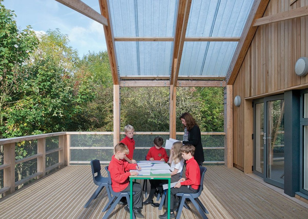 The classroom extends into the landscape for al fresco learning.