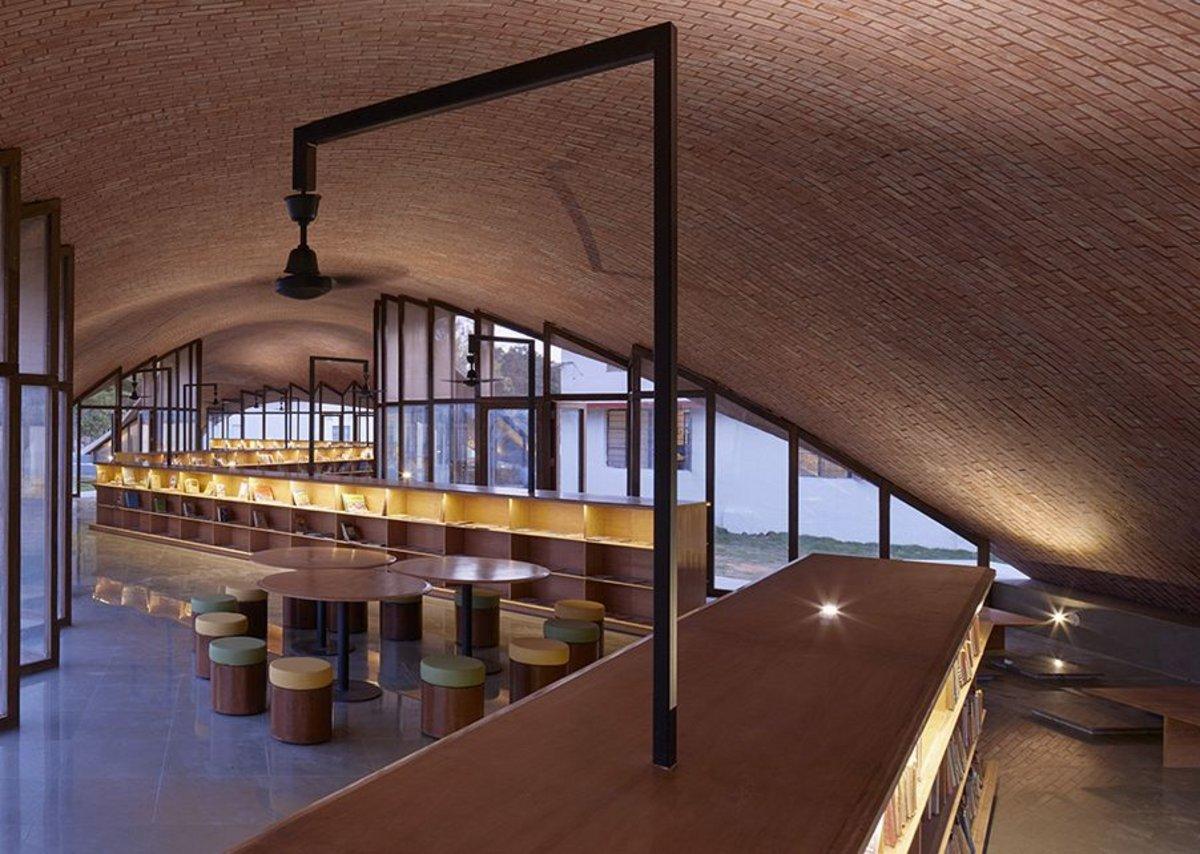 Maya Somaiya Library, Kopargaon, India, designed by Sameep Padora and Associates.