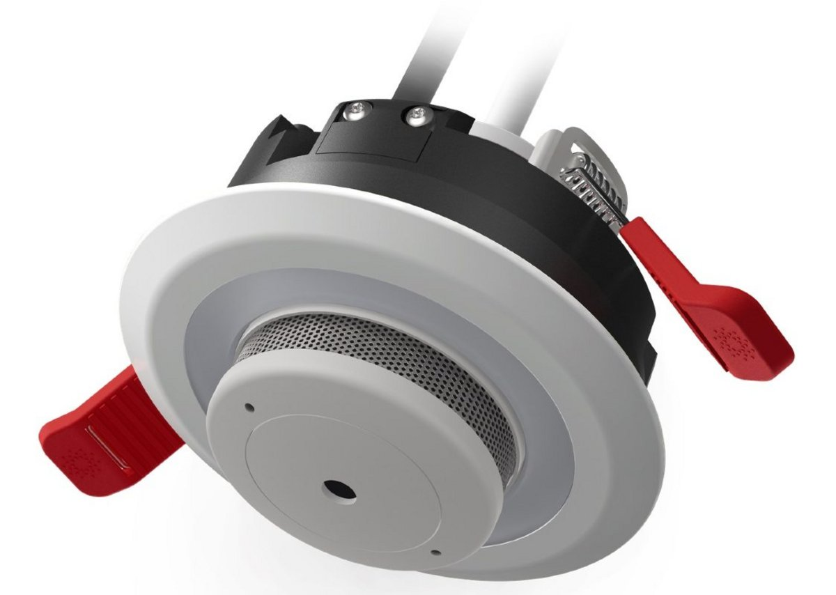 Lumi-Plugin downlight with mains-powered smoke alarm: the world's smallest.