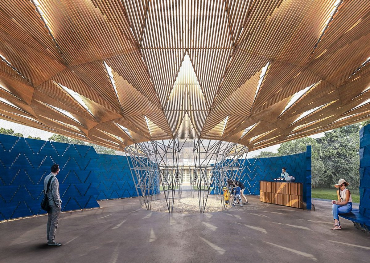 The roof of this year's Serpentine Pavilion recalls the canopy of a tree.
