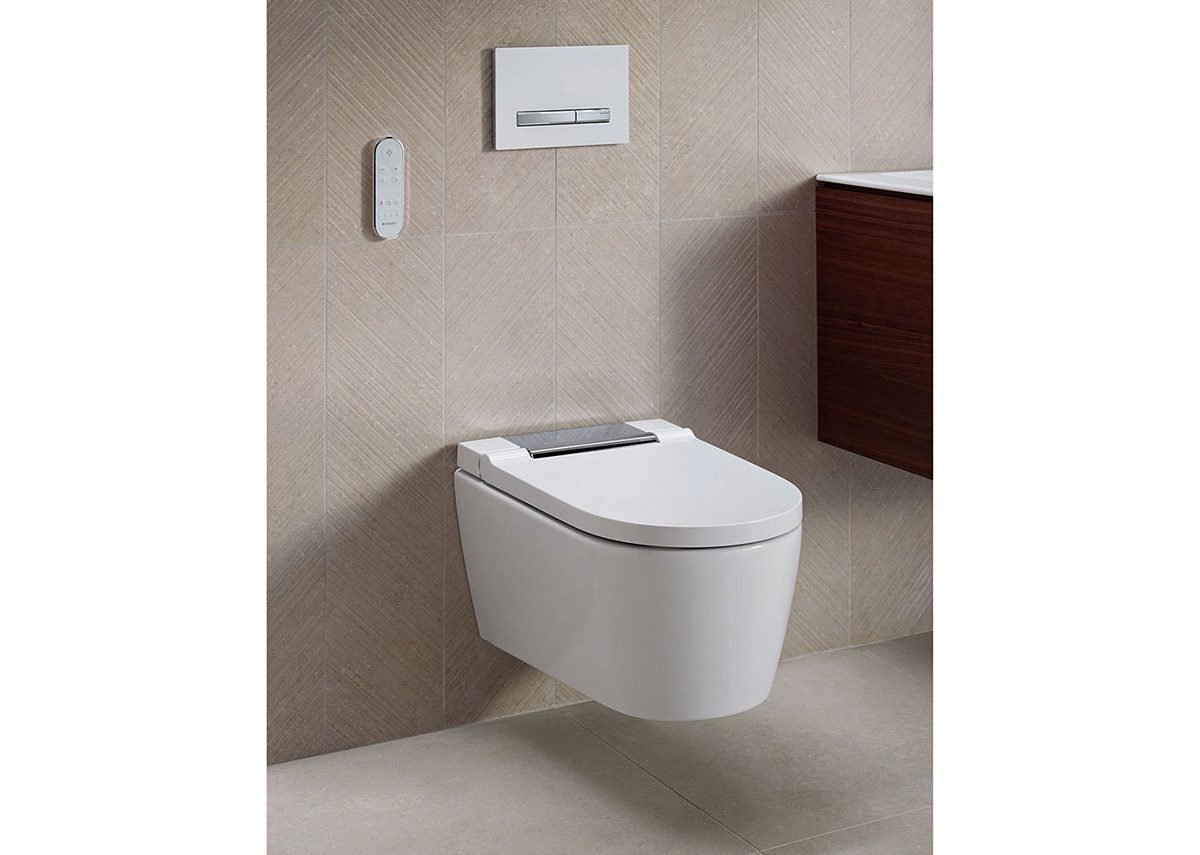 Geberit's AquaClean Sela WC with Sigma 50 flush plate.
