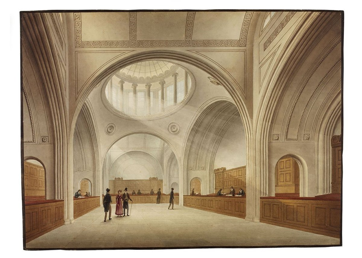 Part of John Soane's Bank of England as depicted by J.M. Gandy. A clerical cathedral.