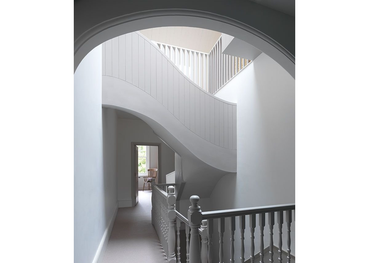 An athletic twist of a staircase in IBLA's designs for a house in Dukes Avenue, London.