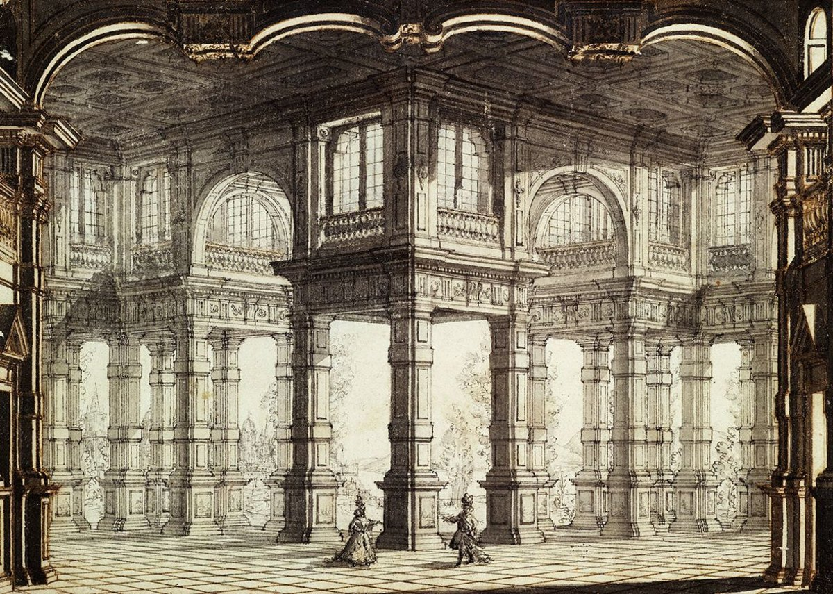 Drawing by or after Galli Bibiena, 1755. Design for stage set of Clemenza di Tito in the Opera House, Lisbon.