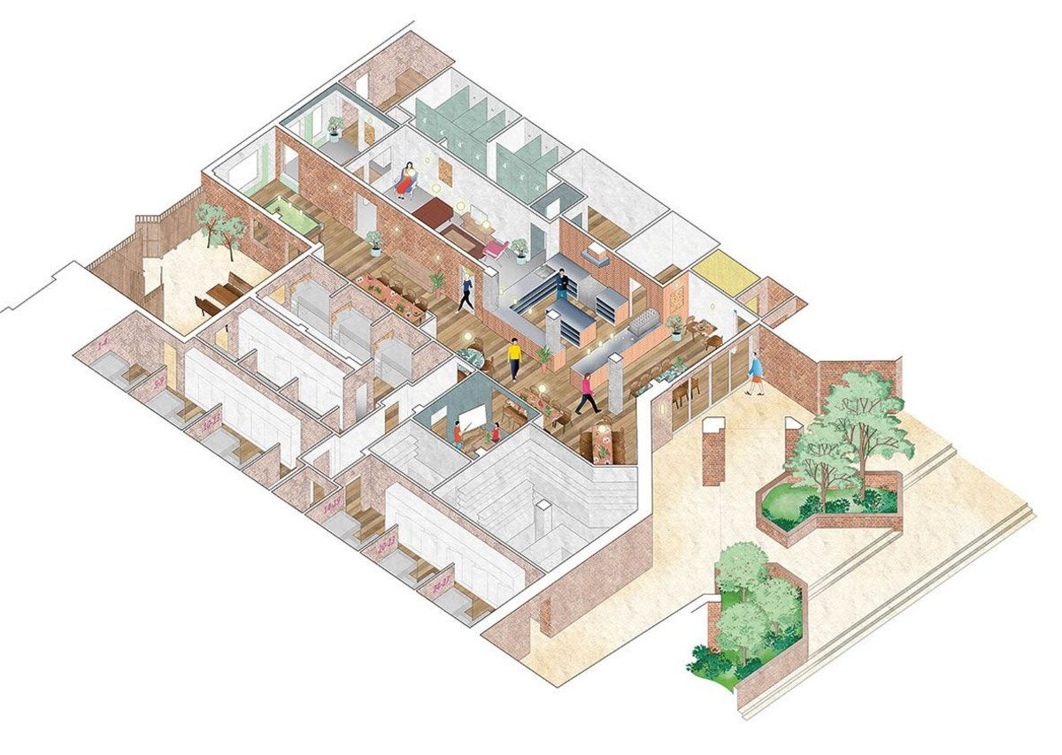 Holland Harvey's axonometric drawing of the shelter layout – public entrance at the front.