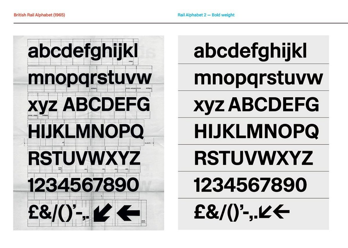 Rail Alphabet and Rail Alphabet 2 comparison, from the Margaret Calvert - Woman at Work exhibition at the Design Museum
