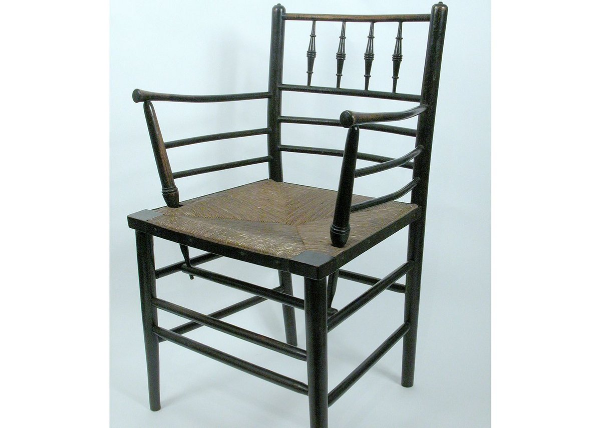 Wood and rush 1870 Sussex Armchair designed by Morris and Co.