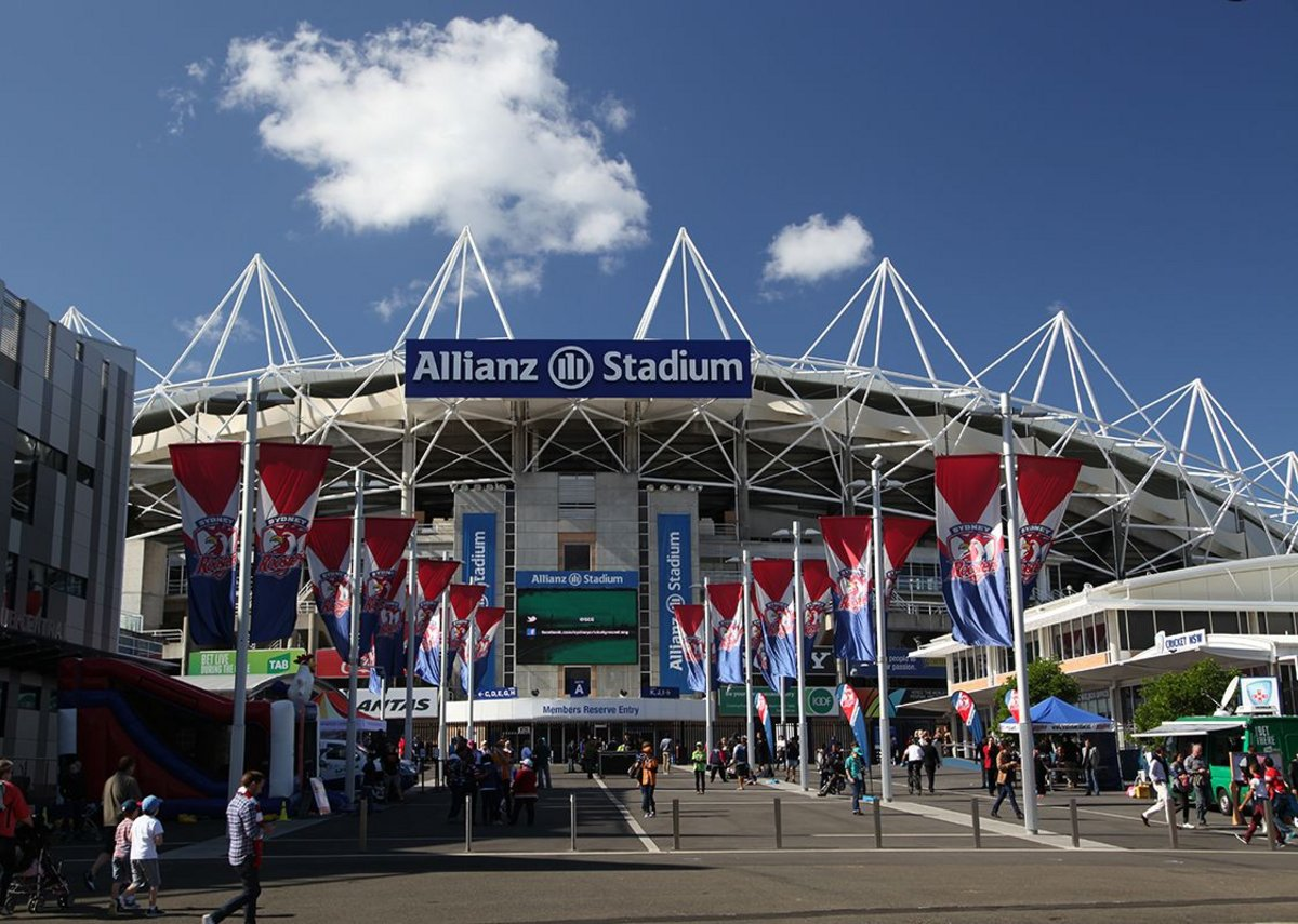 Sydney Football Stadium on match day, waiting for the Sydney Roosters rugby league home match.