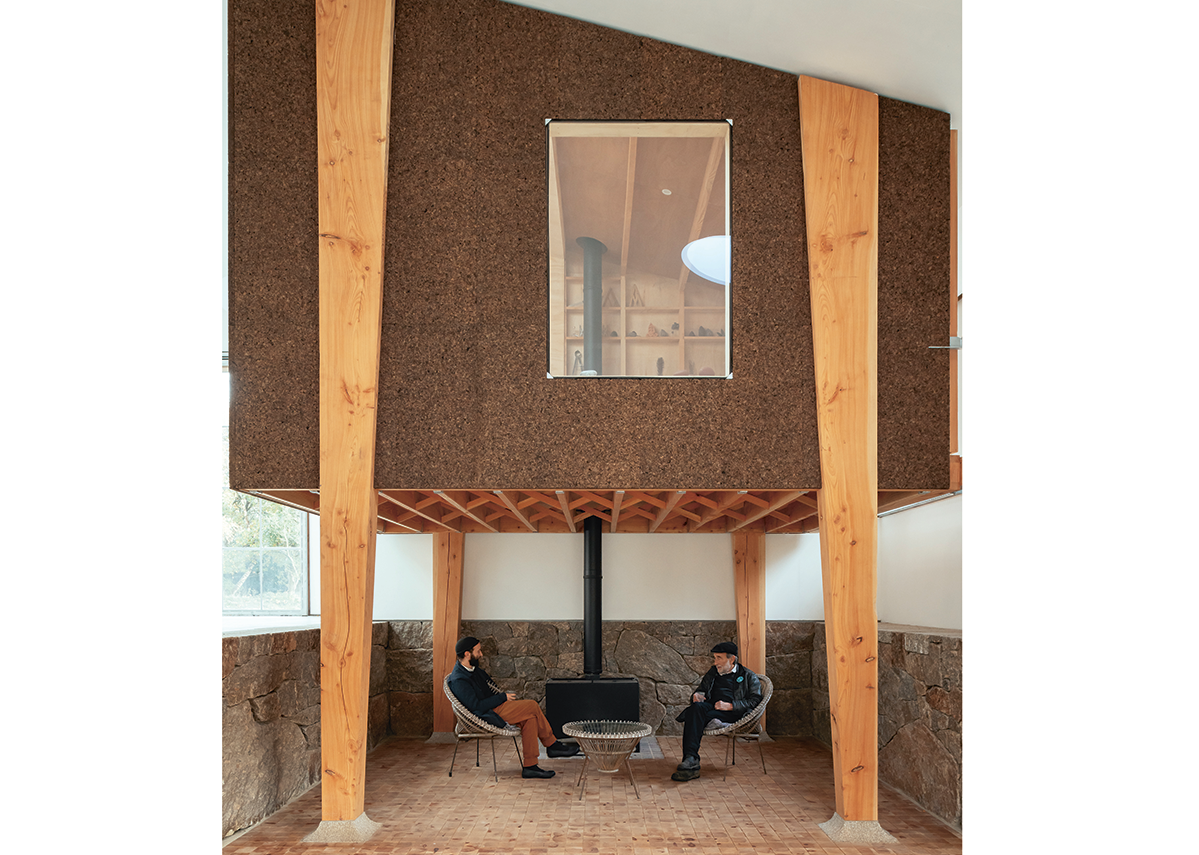 Windows in the Winter Studio overlook the entrance and gallery, while daylight is supplied by a rooflight and sliding doors onto the building's folding balcony.