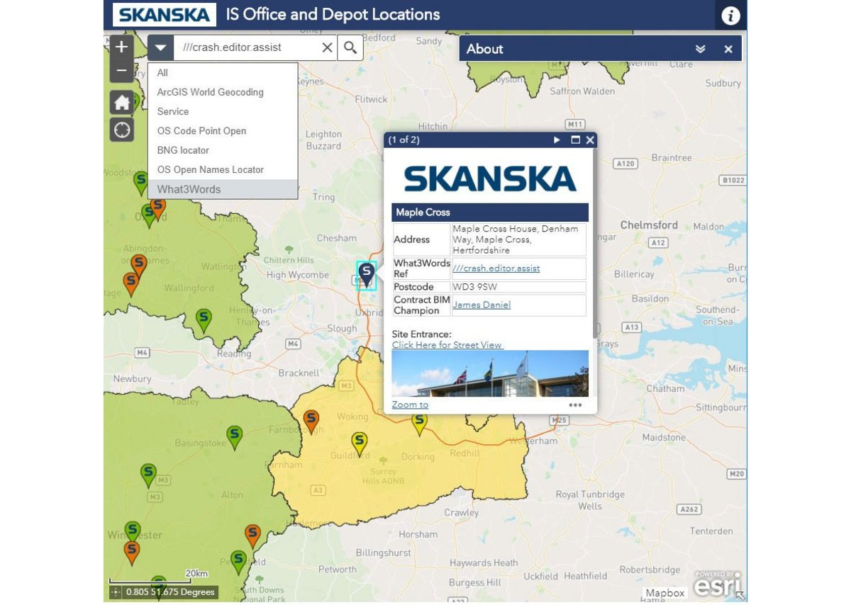 Skanska has integrated What3Word addresses into its GIS tool to give all sites and depots three word addresses