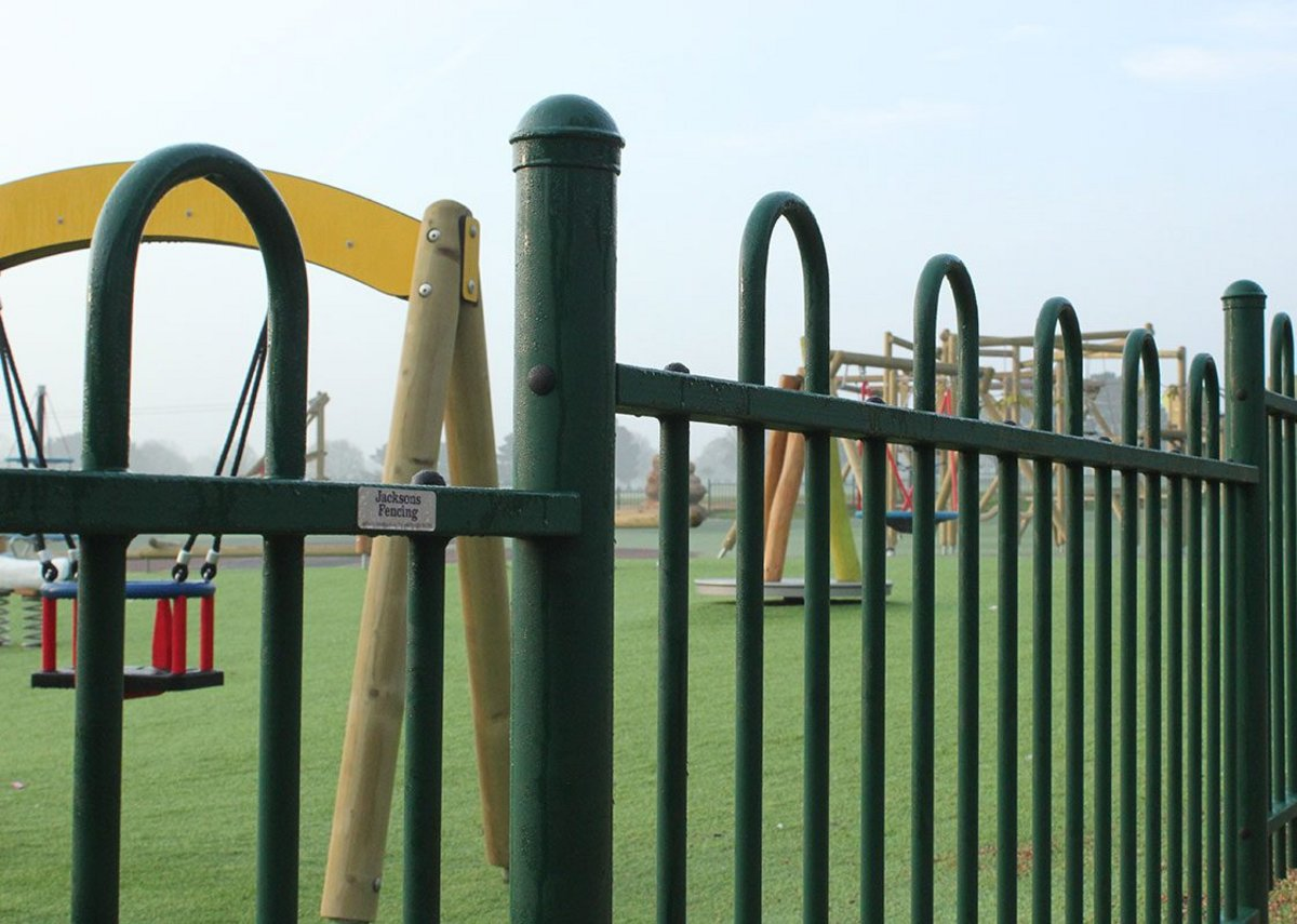 The fencing features a wider gap between each hoop above the top rail to prevent children getting their heads, necks or limbs stuck between pales.