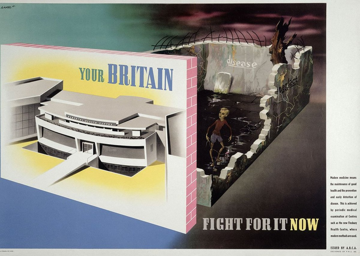 Abram Games, Your Britain: Fight for it now - Medical facilities available at a modern health centre contrasted with ill health in old-fashioned housing, poster, 1942.