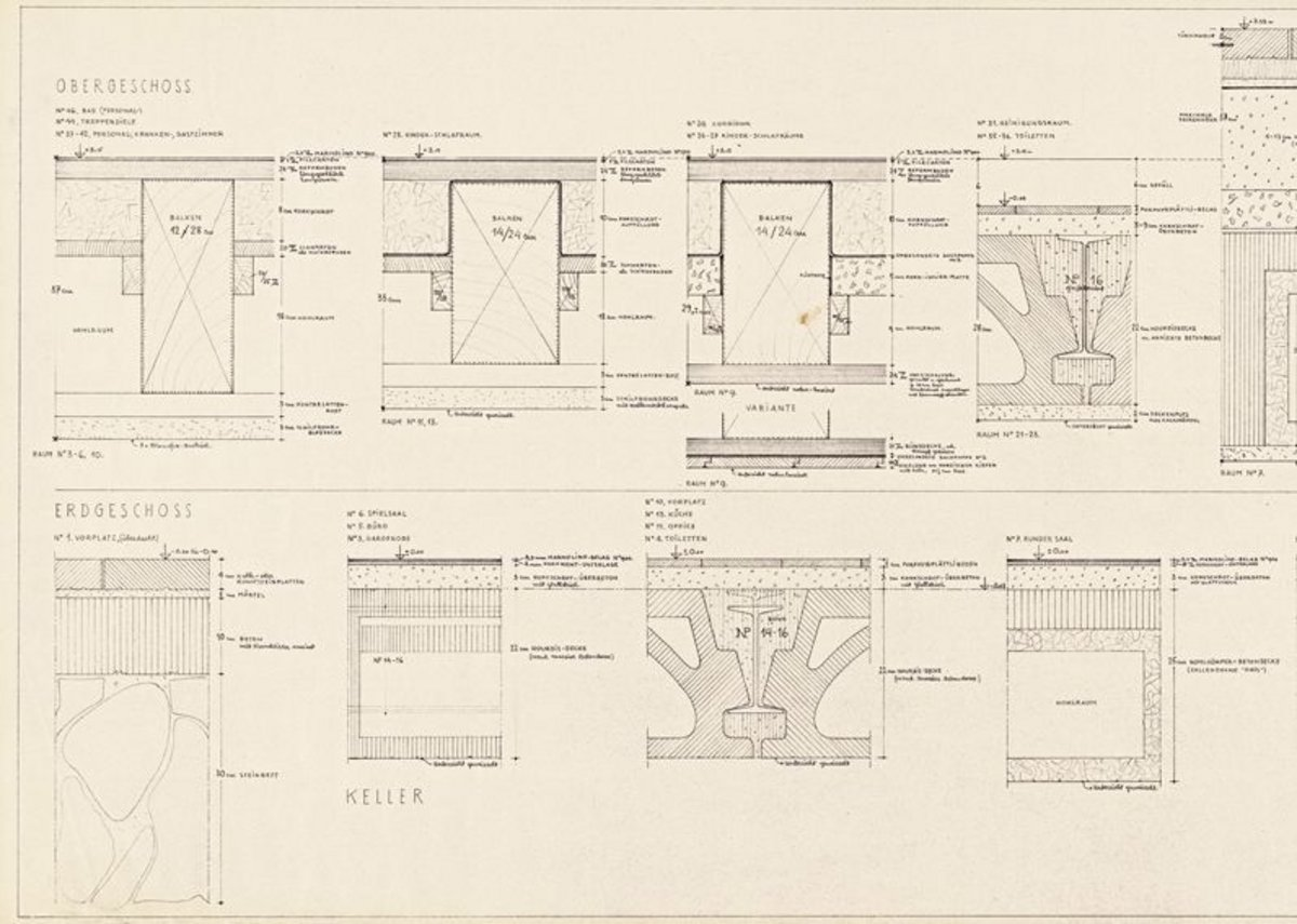 Hannes Meyer, Sectional views: ceilings, floors, Genossenschaftliches Kinderheim / Cooperative children's home, Mümliswil, Switzerland, 1938 © gta Archives, ETH Zurich: 28-1937-1-64.