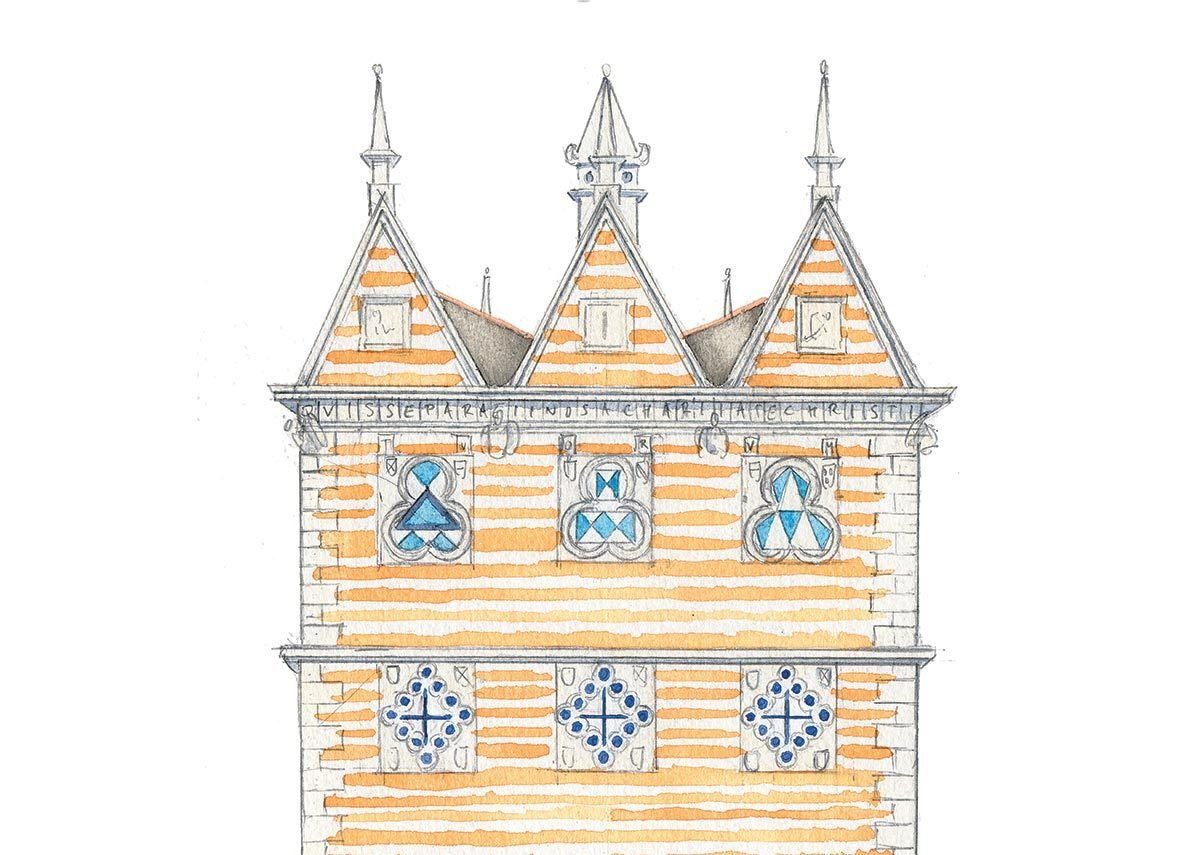 Rushton Triangular Lodge, Northamptonshire, described by the author as the sort of place you might bury a horcrux. Sketch by Rory Fraser.