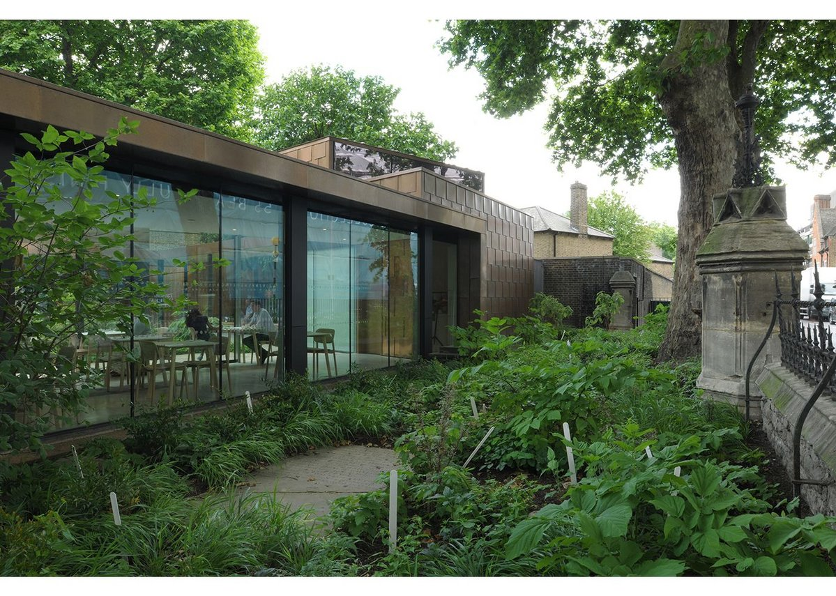 Designing between listed plane trees proves worthwhile when you feel the full shady effect in the summer.
