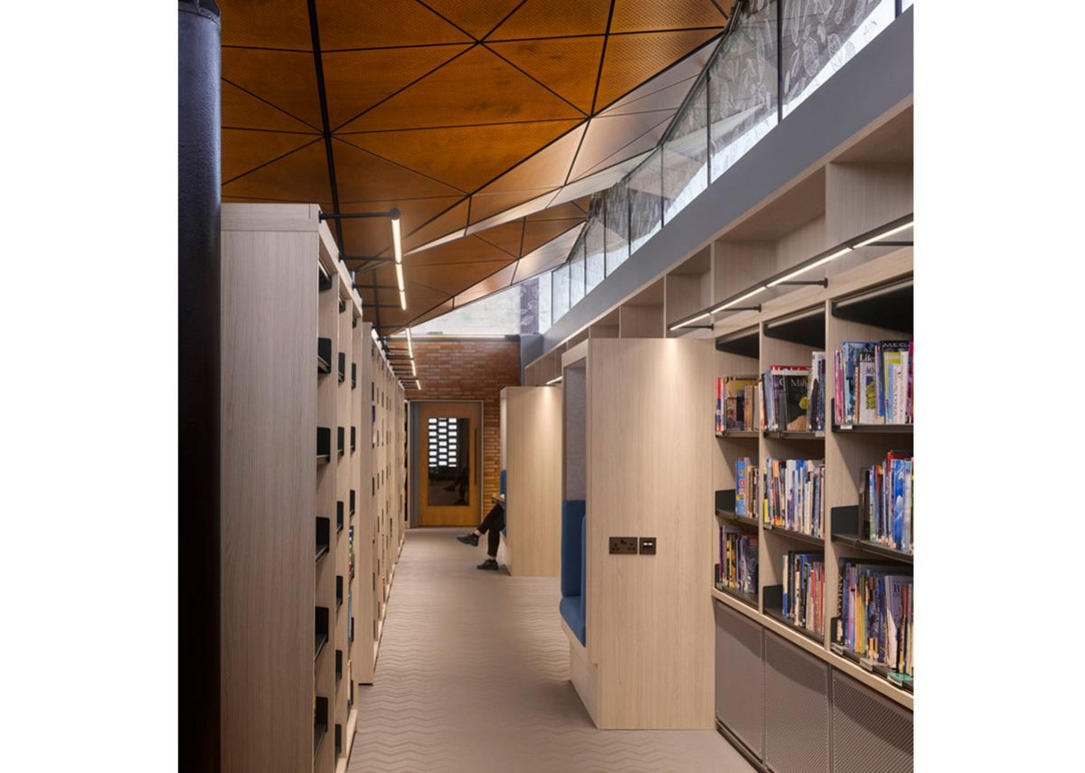 Shelves create spaces inside the building.