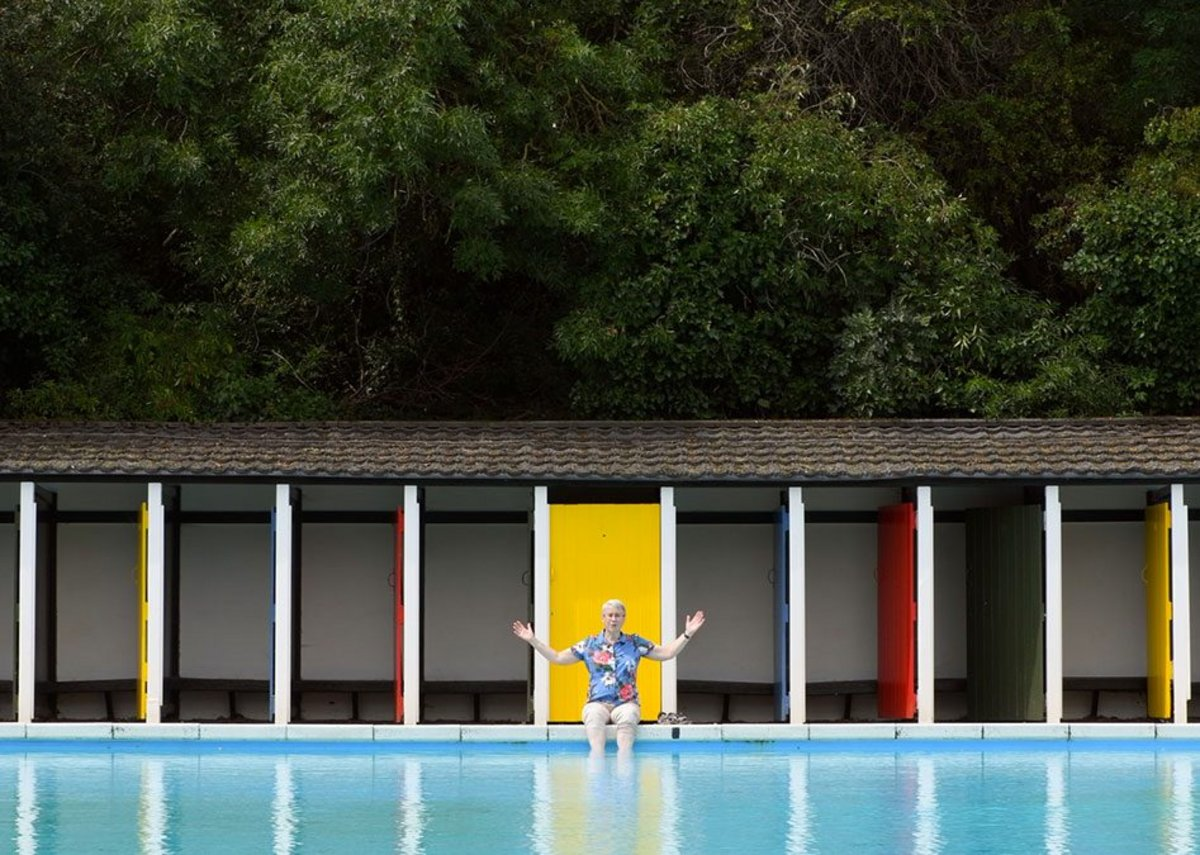 Still from the Open House film by Jim Stephenson on Tooting Bec Lido, Wandsworth.