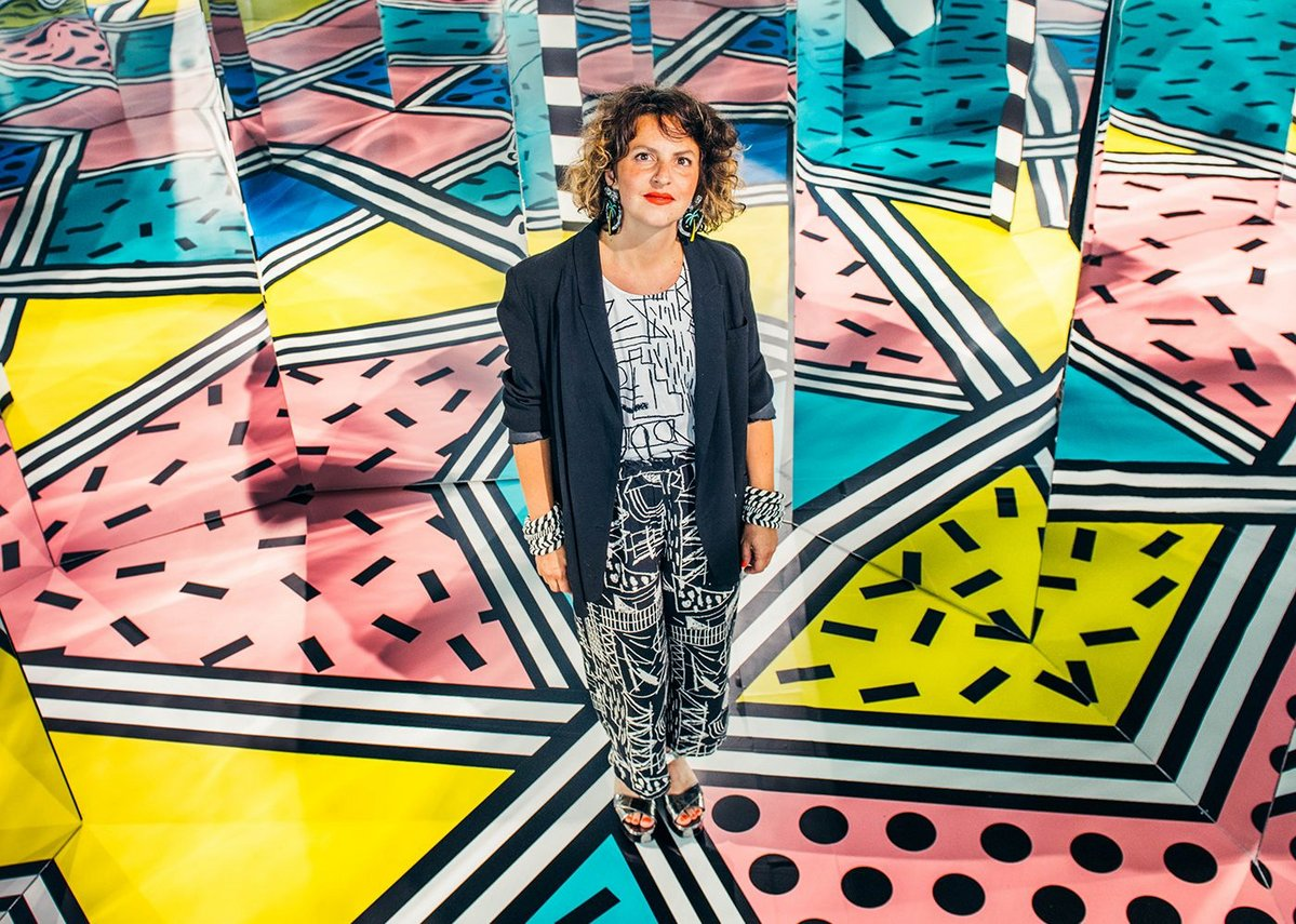 Camille Walala at Walala x Play, a maze installation at the Now Gallery in Greenwich..