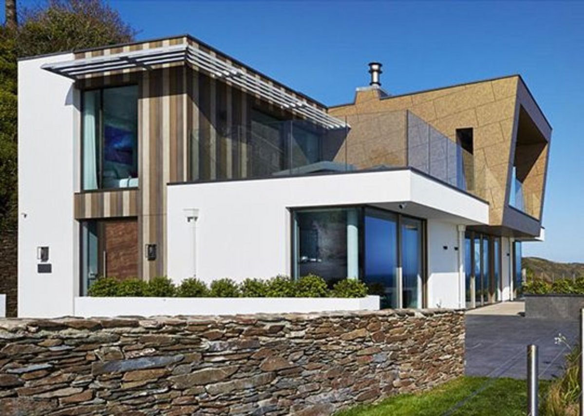 Trespa Meteon and Pura NFC cladding on a house in Dartmouth, Devon.