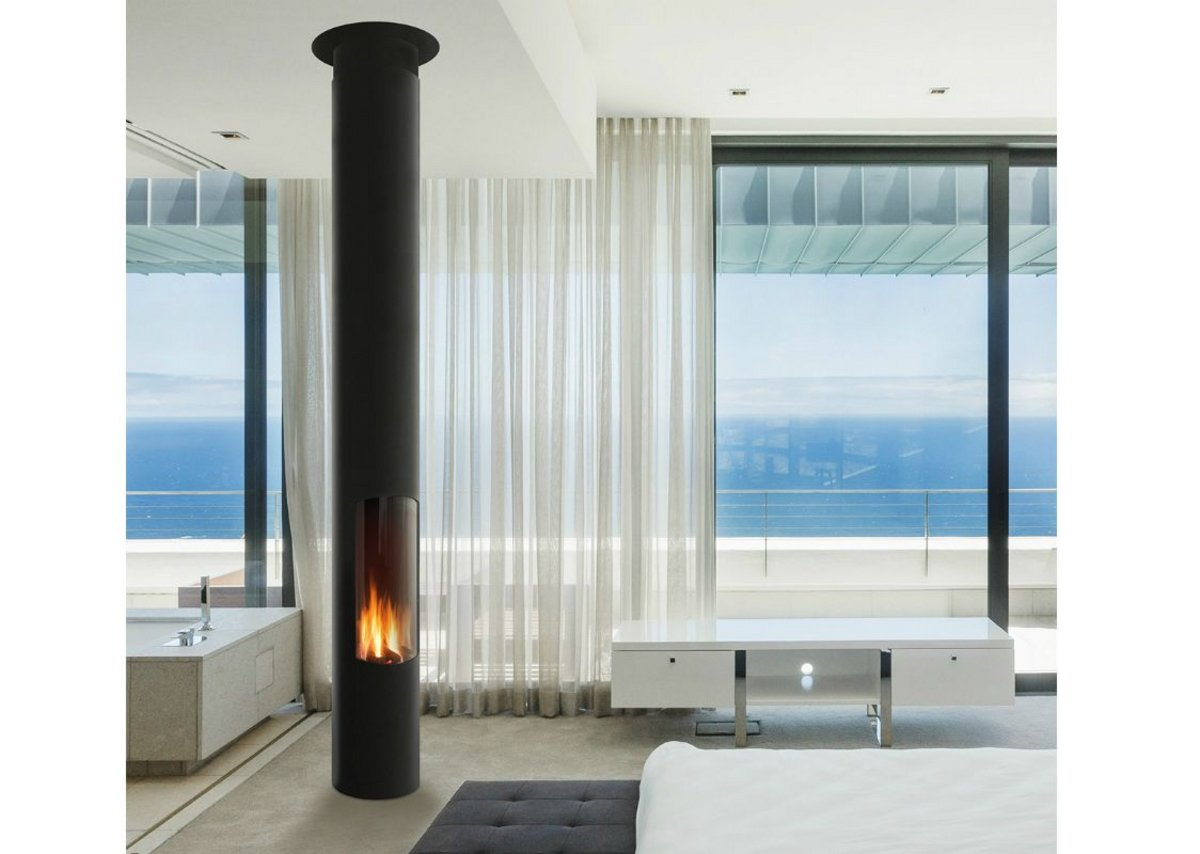 Slimfocus fireplace with hermetically sealed fire and a glass door opening on hinges.