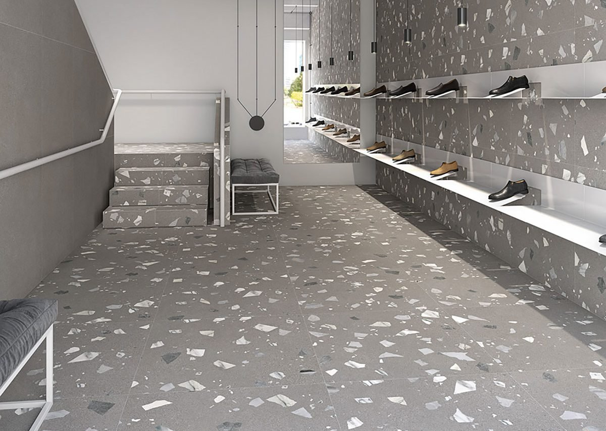 Elburg by Arcana is a macro terrazzo-effect porcelain tile in neutral hues.