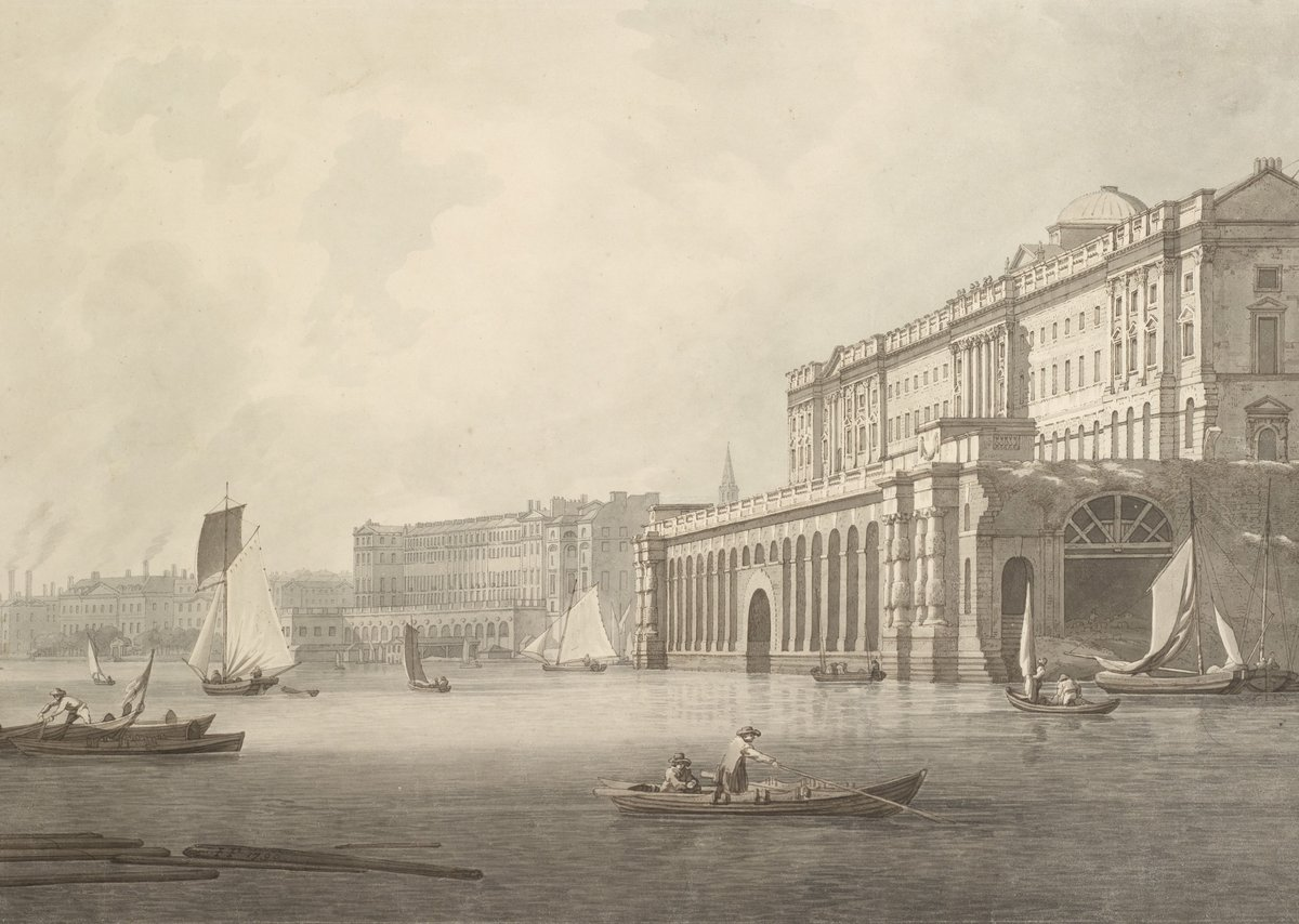 Joseph Farrington, View of Somerset House and the Adelphi from the Thames, 1789.