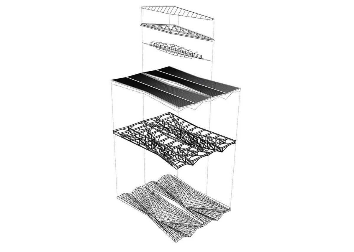Exploded axonometric drawing of Pulkovo Airport's roof structure.