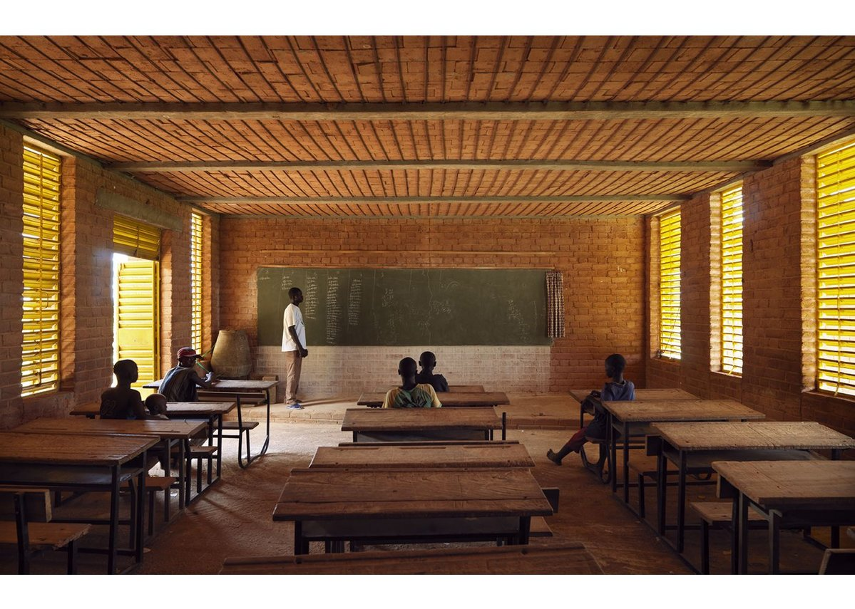 A shady interior of Gando Primary School, which was completed by Kéré Architecture in 2001.
