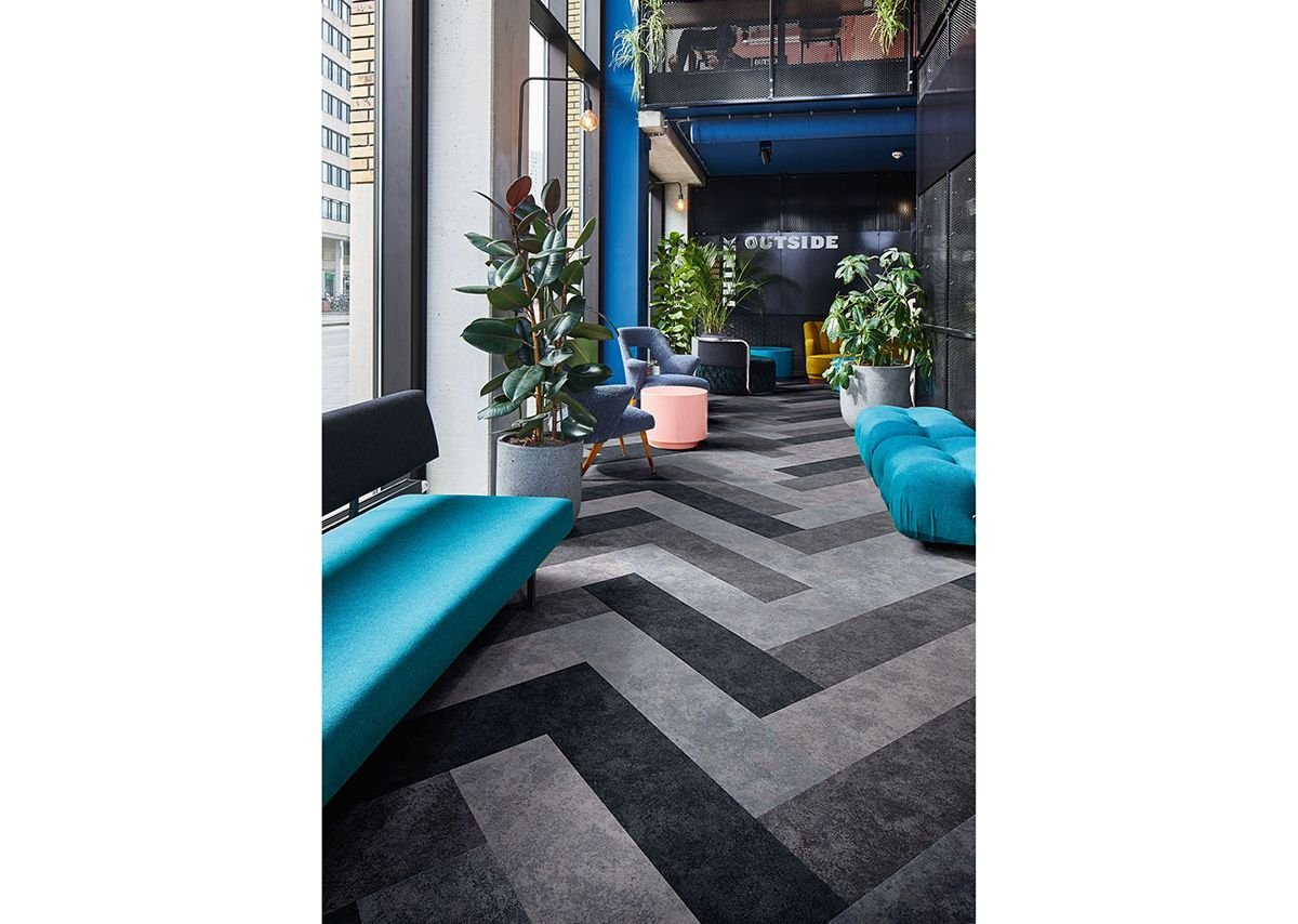 Flotex Colour Calgary flocked flooring in Ash, Grey, Cement and Carbon.