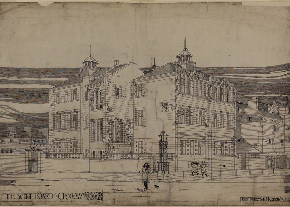 Charles Rennie Mackintosh, Martyr's Public School, Glasgow: perspective