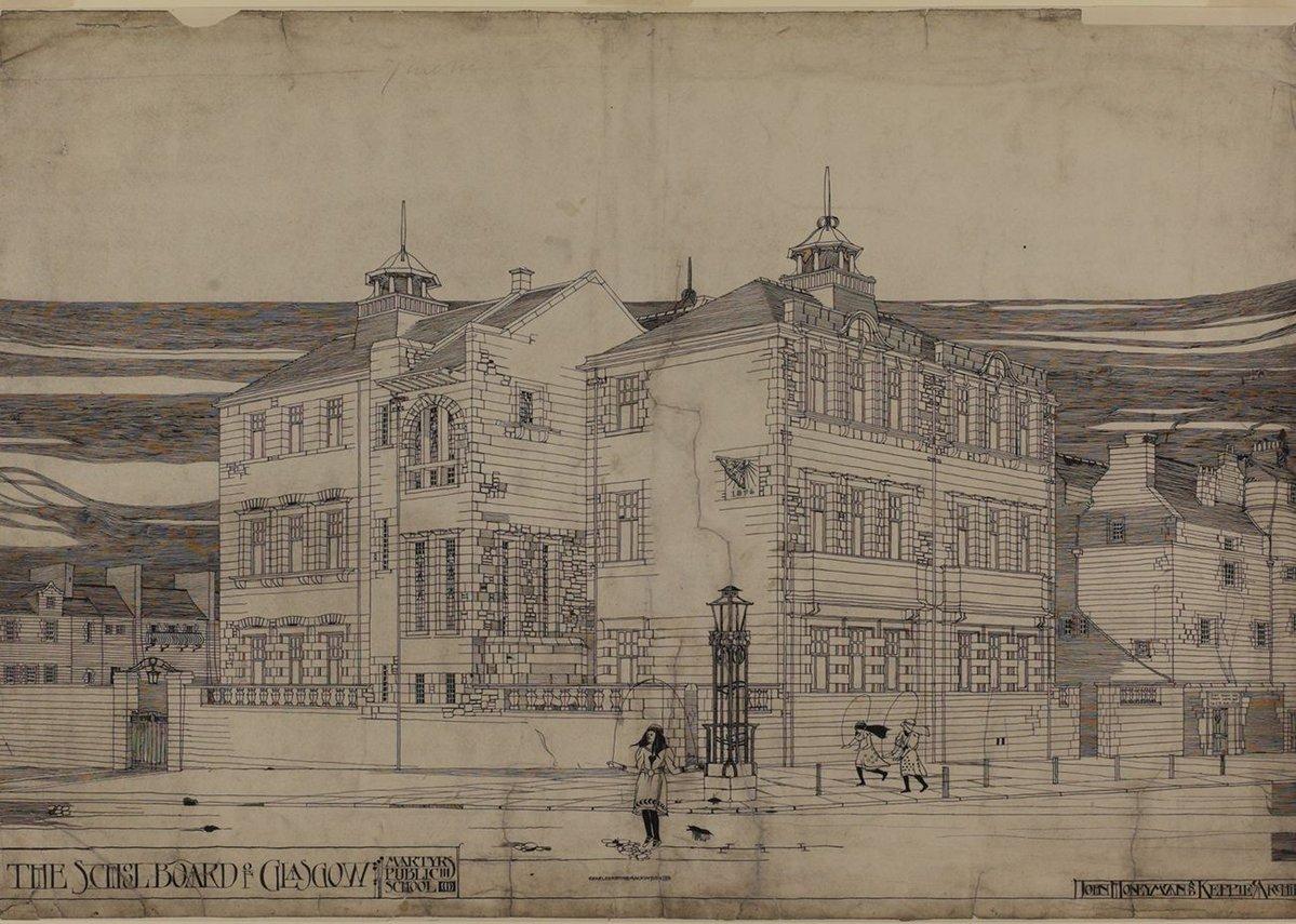 Charles Rennie Mackintosh, Martyr's Public School, Glasgow: perspective