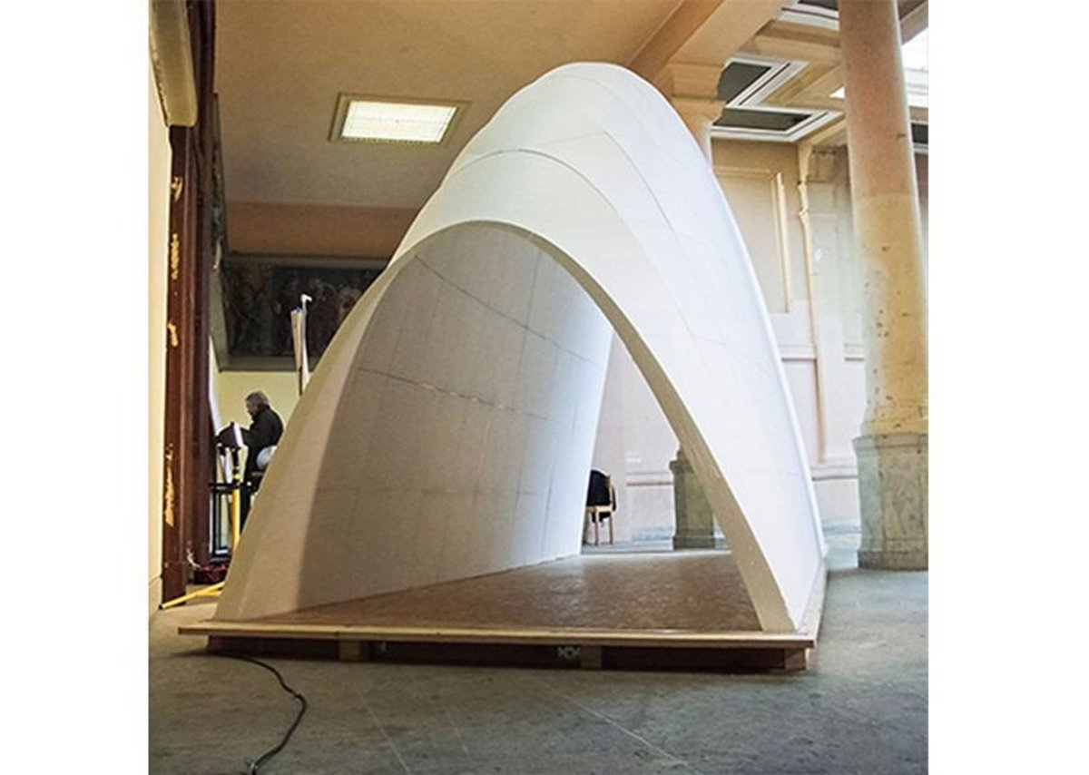 A robotised pre-fabrication process was used to manufacture this Automated FoamDome - an ultra light foam shell. The prototype is 5x2x3.5m and the shell is made of 160 unique parts obtained using robotised hot wire cutting.