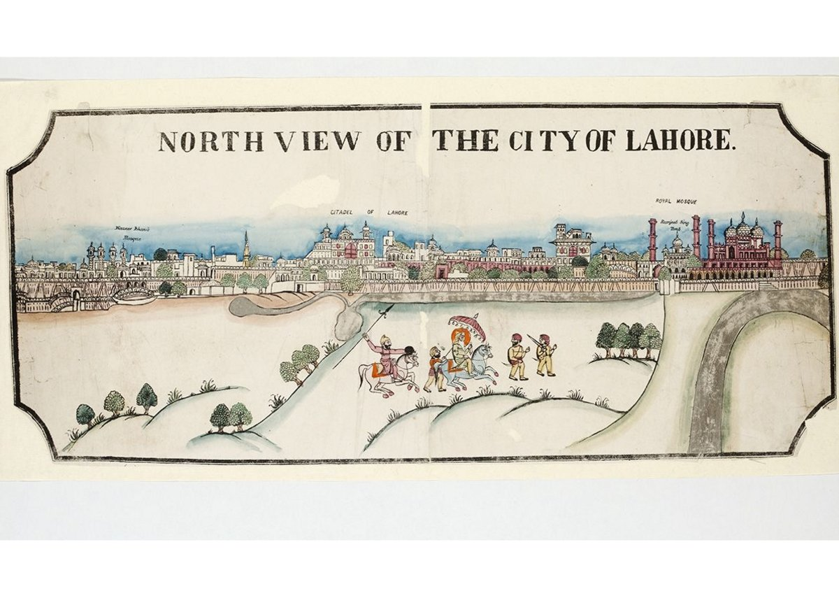 View of Lahore with Maharaja Ranjit Sing, Woodcut, c1870.