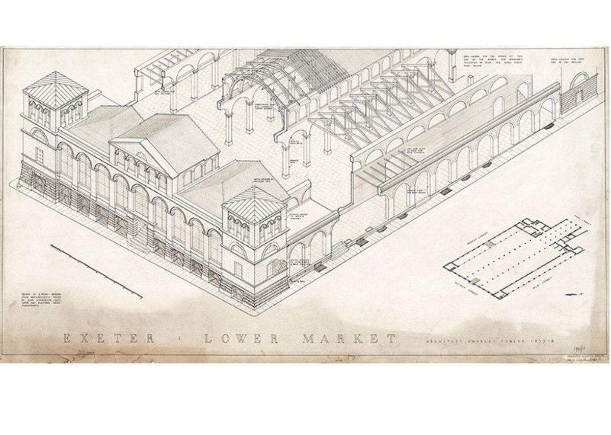 Drawing of Lower Market in Exeter, Devon, drafted from measurements taken after the building was damaged by bombing in 1942, from What Remains at the Imperial War Museum London.