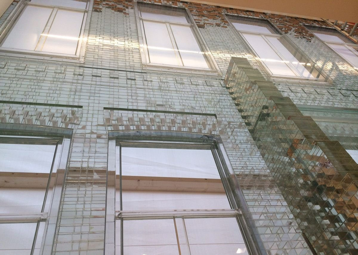 MVRDV's Crystal House in Amsterdam uses glass bricks in combination with a high strength UV bonded, transparent adhesive