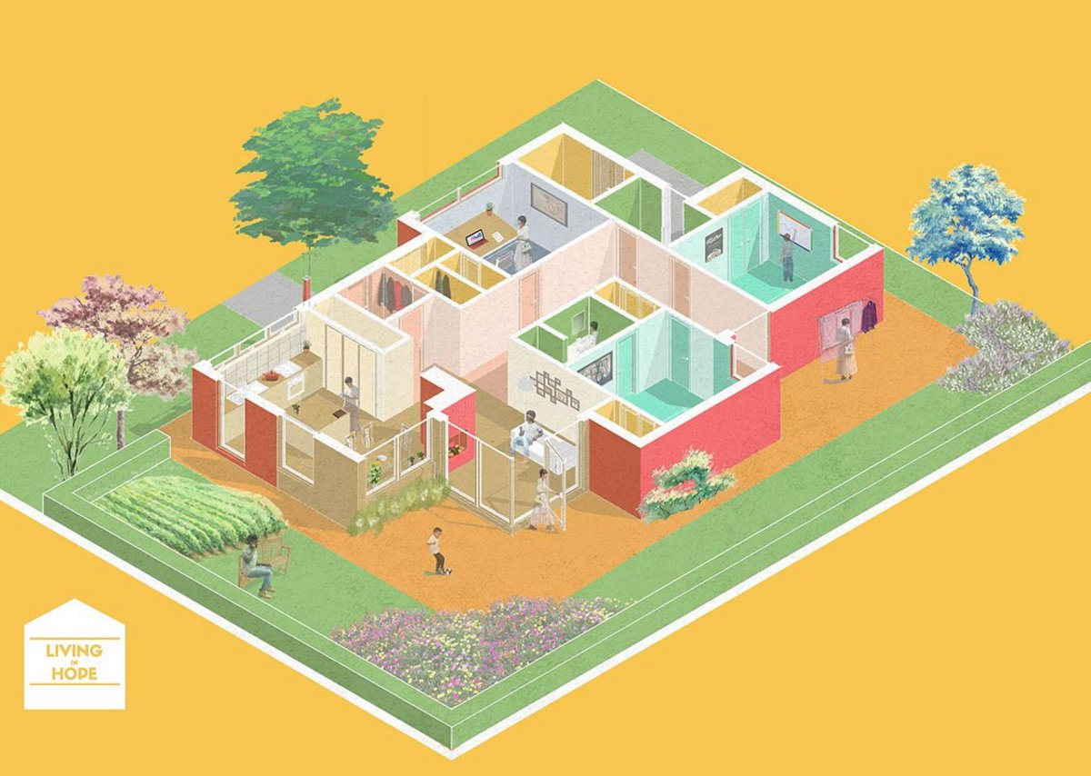 Living in Hope: Enables the mass production of bespoke high-quality homes at low cost using a mobile app and AI to ensure the home works for the user while being based on a consistent grid and structure.