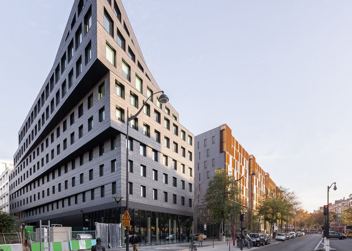 Cupaclad natural slate cladding at the Binet business hotel, Paris.