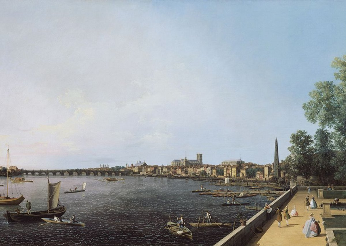 Westminster Abbey presiding over the London view from Somerset House in this Canaletto.